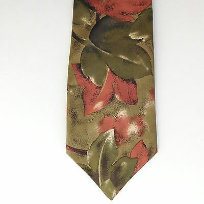 Roberto British tie Leaf pattern Pure silk Made for John Lewis