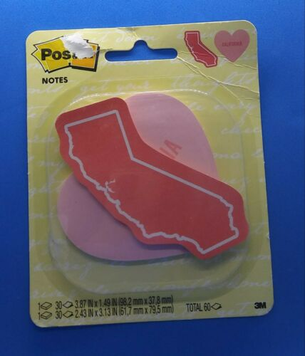 Post-It Notes State of California Hearts Pink Sticky Notes Pad