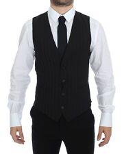 NWT $360 DOLCE & GABBANA Black Striped Stretch Dress Vest Gilet IT44 / US34 / XS