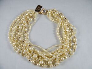 Vintage Richelieu 18 Simulated Faux 9 Strand Pearl Necklace
