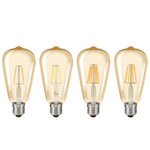 Retro Ycdc E27 Edison Filament Bulbs Cob Led Light Amber