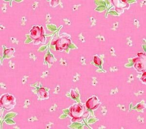 Cottage-Shabby-Chic-Lecien-Flower-Sugar-Bouquets-amp-Buds-Pink-Cotton-Fabric-BTY