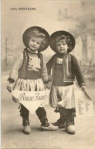 CARTE POSTALE BONNE ANNEE BRETAGNE ENFANT FOLKLORE COSTUME TRADITIONNEL BRETON | eBay
