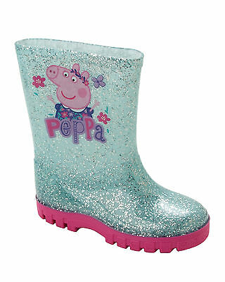 GIRLS PEPPA PIG BLUE GLITTER WELLIES WELLINGTON RAIN SNOW BOOTS WELLYS SIZE 4-10
