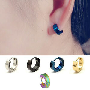 Image Is Loading 2pc Punk Cool Stainless Steel Hoop Ear Studs