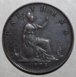 British-Farthing-Coin-1875-H-KM-753-Victoria-Britain-United-Kingdom-UK-One-1