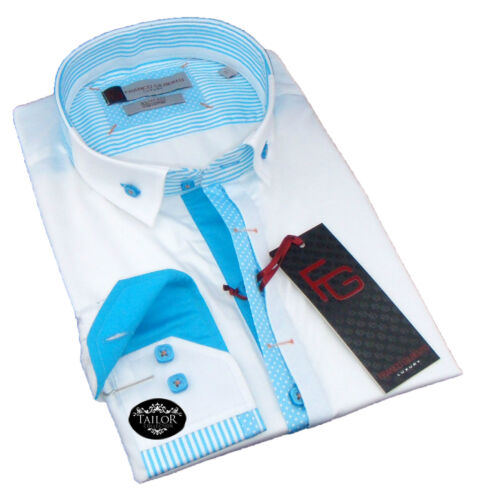 New Mens Formal White and Blue Stripes Smart Collar Slim Fit Shirt 100/% Cotton