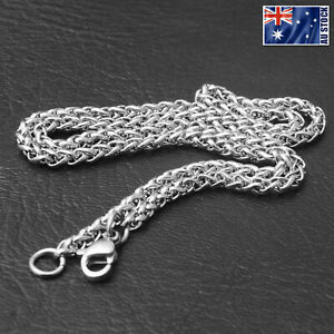 Wholesale-Price-Stainless-Steel-Silver-Wheat-Braided-Chain-Necklace-Men-039-s-Gift
