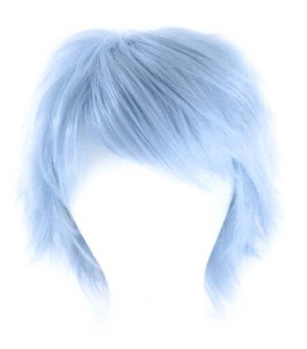 11'' Short Messy Spiky Saxe Blue Synthetic Cosplay Wig NEW