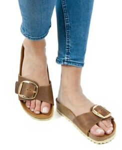 174e432ec07 Image is loading Birkenstock-Sandals-MADRID-BIG-BUCKLE-cognac-brown-waxy-