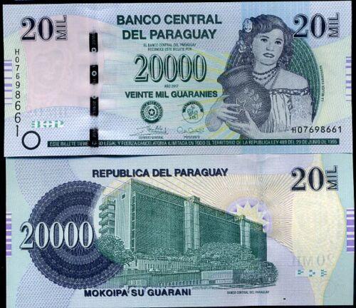 PARAGUAY 20000 20,000 GUARANI 2017//2019 P NEW H PREFIX REVISE SECURITY TAB UNC
