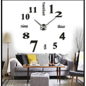 Details zu Schwarze 3D Stylisch Wanduhr Wohnzimmer Wand Uhr Spiegel  Wandtattoo Deko Riesen
