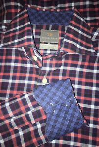 TD Thomas Dean Plaid L/S Button Down Shirt LARGE Flip Cuffs Red Blue EUC