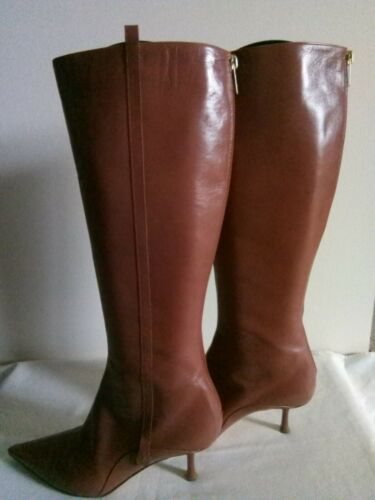 Jimmy Choo Tan Leather Fitted Boots, Kitten Heel 7cm, Size 39.5, Exc.Condition