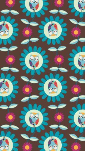 Owls Garden Hootyblooms Eulen in Blumen Reststück 40cm Sweat braun