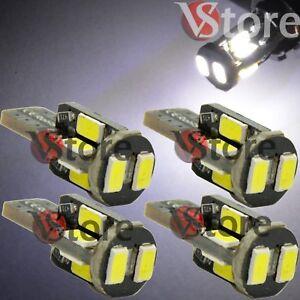 4-Lampade-LED-T10-10-SMD-5630-Can-Bus-BIANCO-Posizione-Luce-Targa-360-Luminosi