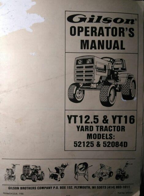 gilson yard tractor service manual yt11 yt16 gear hydrosta