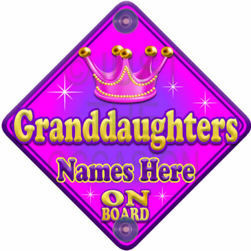 NEW  ALLURE GRANDDAUGHTERS  Pink Personalised Baby on Board Car Window Sign