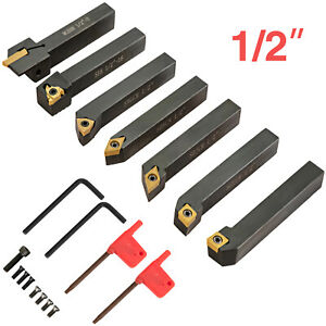 Carbide Indexable 1/2'' 7pcs/set Lathe Turning Threading Tool Insert Cutter Bit