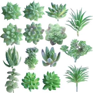 FEPITO-15-Pcs-Artificial-Succulent-Plants-Green-Unpotted-Faux-Flower-Succulents
