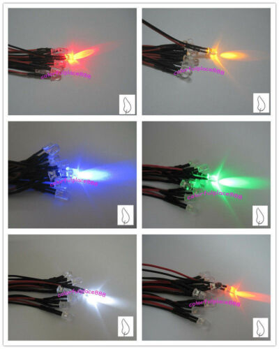 5mm 12V Candle Led Flicker Pre-Wired Red Yellow Blue Green White Orange 20CM New