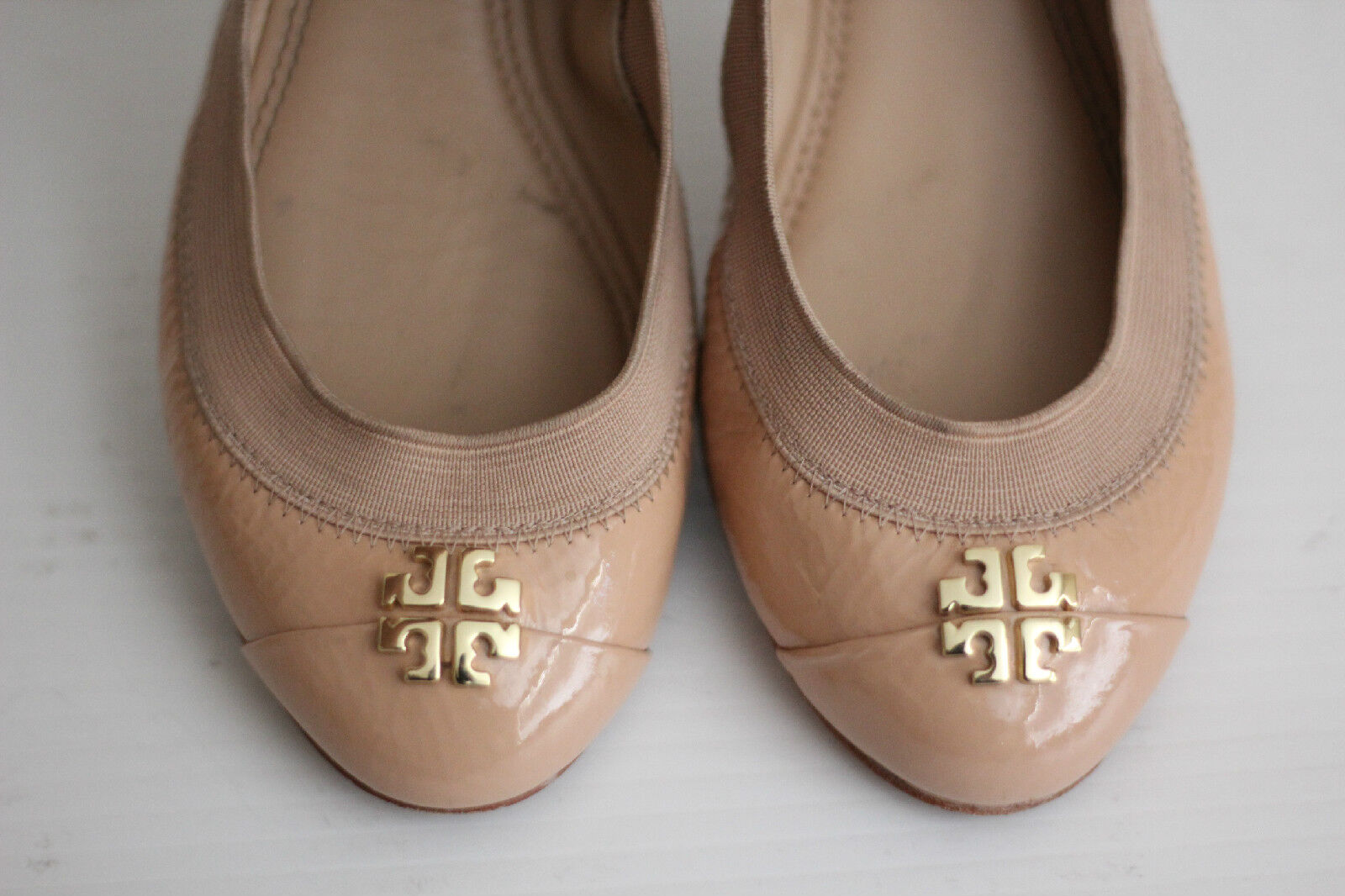 Tory Burch 'Jolie' Patent Ballet Flats - Light Oak - Size 6 M