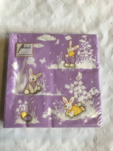 Ambiente Happy Bunnies Lila Ostern Lunch Serviette 33 cm x 33 cm 3-lagig