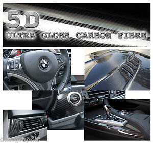 95x152cm Real Look High Gloss 5D Carbon Fibre Vinyl Adhesive Bubble Free Wrap
