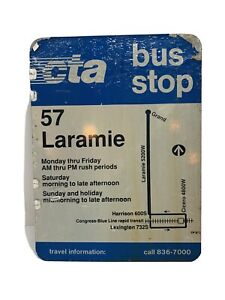 Vintage-24-x-18-CTA-City-Of-Chicago-Bus-Stop-57-Laramie-Double-Sided-Damaged