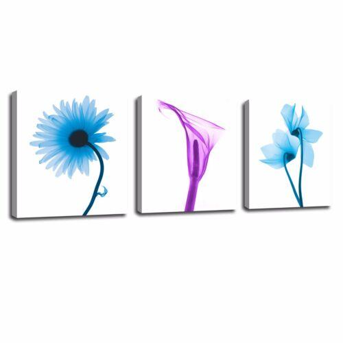 Large Wall Art Canvas Print Painting Blue Flowers Picture Home Decor 3pcs