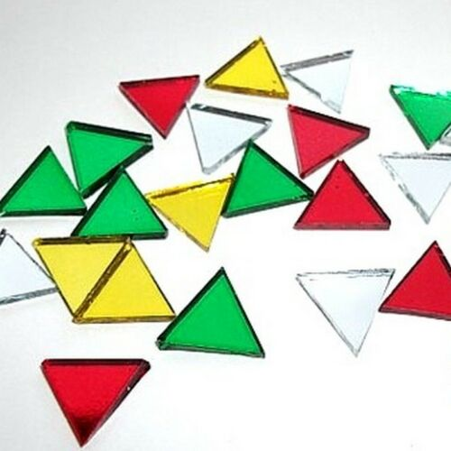 Gold Silver Green New C0732 24 Mirror Mosaic Triangles Tile Embellishments Red