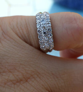 .50ct G/VS Single cut diamond 3 row antique wedding right-hand platinum band