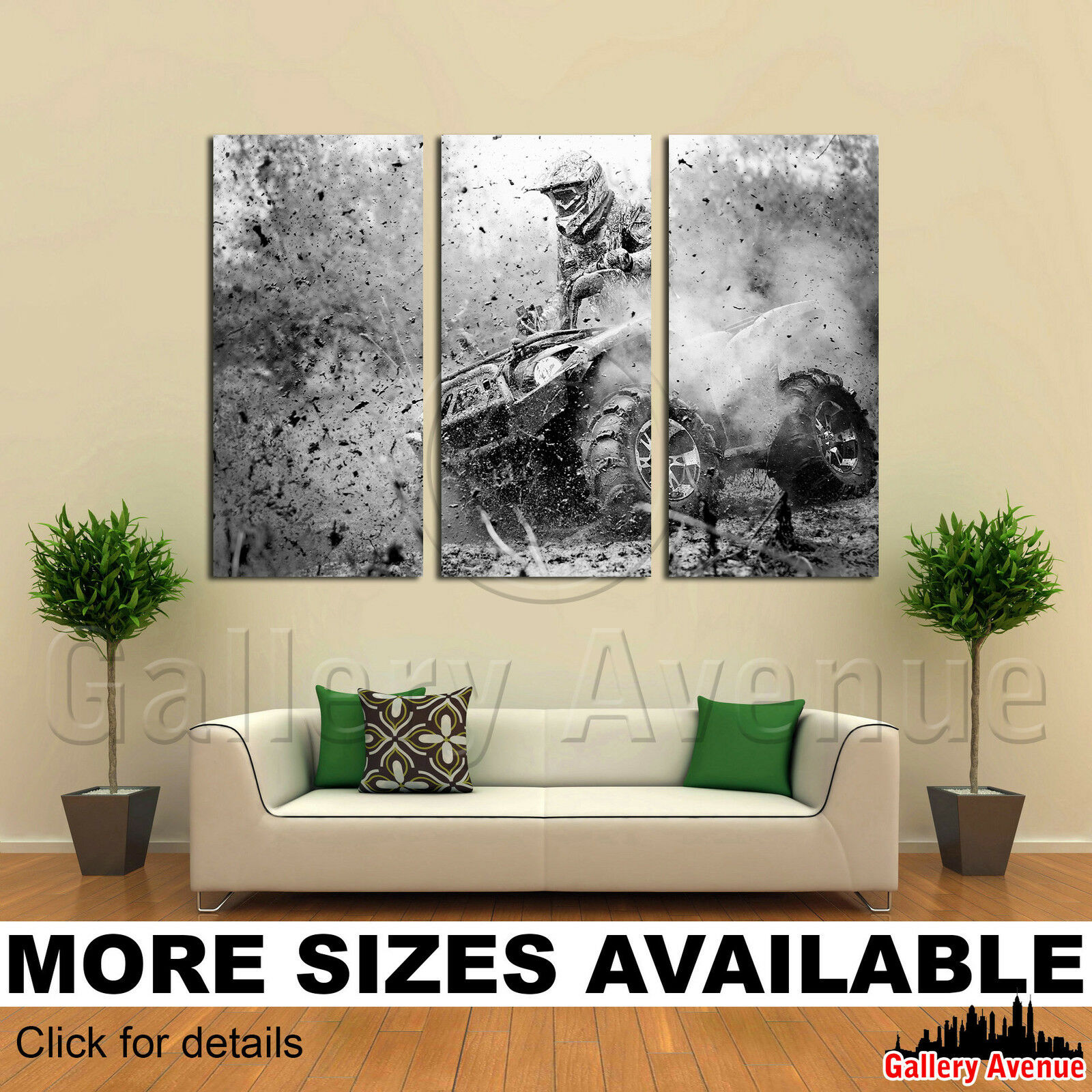 3 Panel Canvas Picture Print - ATV Action 3.2
