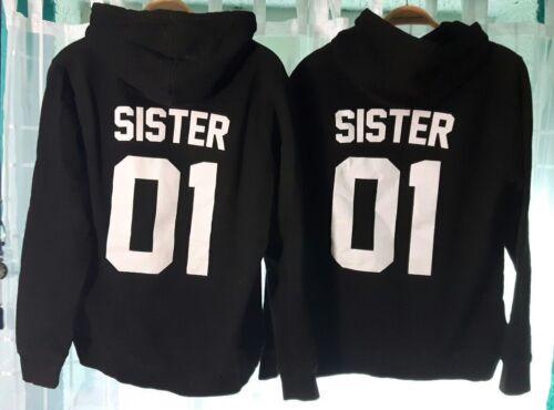 Wunderschöne SISTER 01 HOODIES mit Kapuze Best Friends Pullover Größe M