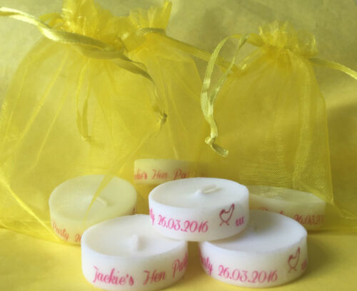 Personalised Candle Tealight Hen Party Favours Available In 18 Colours
