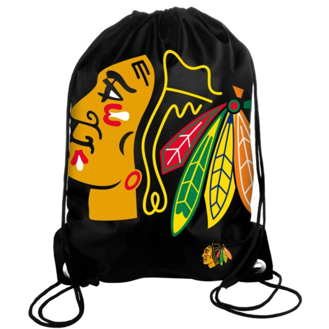 Chicago Blackhawks Back Pack Sack Drawstring Bag Tote Nhl Backpack Logo