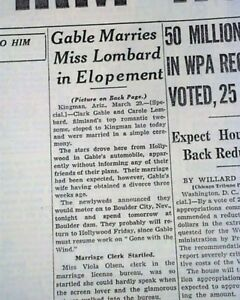 Actor-CLARK-GABLE-amp-Actress-Carole-Lombard-MARRIED-Weds-Marry-1939-Old-Newspaper