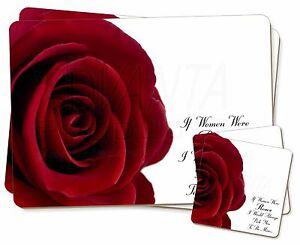 Rose-epouse-Copine-Amour-Sentiment-Simple-2x-Set-de-table-2x-Sous-verre-Se