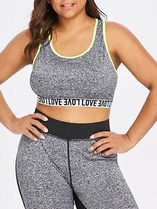 28ea0b9e2e5be Plus Size Womens Sports Bra Activewear High Impact Wireless Padded ...