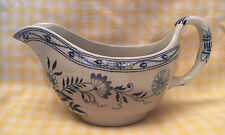 Antique English Ironstone BLUE ONION GRAVY BOAT Staffordshire