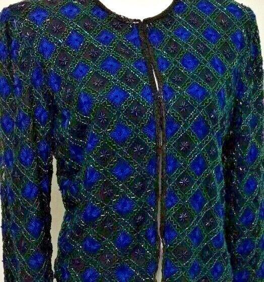 Laurence Kazar New York Beaded Evening Jacket Blue L Starburst Geometric Vintage