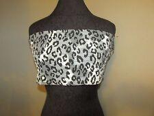 Grey leopard spot and black elastic stretch tank tube top xl new animal print