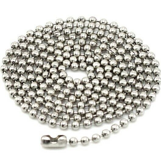 21' Inch 55cm Stainless Steel Chain 2.4MM Width Titanium Necklace Ball Jewel DIY