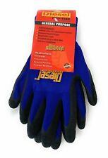 12 Large Pair Diesel Blue Safety Gloves Latex Coated Grip