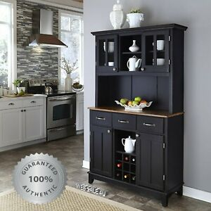Details About Kitchen Buffet Hutch Wine Rack Solid Wood Server Storage Cabinet Drawers Black