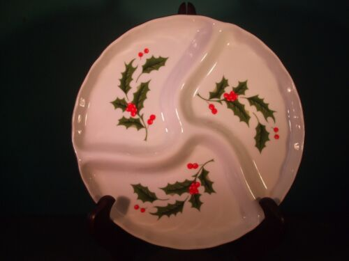 "Holly Berry 3 Compartment Christmas Serving Plate made in Japan 7.5"" diameter"