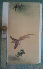 Vintage Japanese Chinese Orientalia Original Painting Scroll Pheasant Flowers B