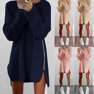 Femme-d-039-hiver-a-manches-longues-Jumper-Hauts-chandail-tricote-Tunique-Pull-robes