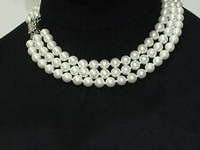 Kenneth Jay Lane Jackie Onassis 3 row 10mm Cultura Pearl Deco Clasp Necklace
