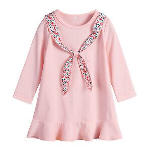 4bbd0a723b50 Kid Girls Cute Long Sleeve Tunic Short Dress Swing Toddler Party ...